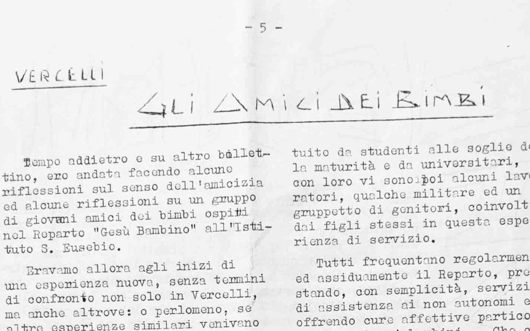"""Gli amici dei bimbi del Reparto """"Gesù Bambino"""" all'Istituto S. Eusebio – Vercelli"""