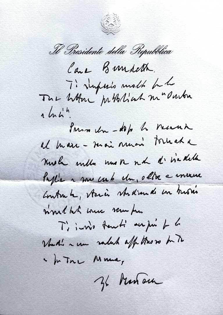 Lettera di Sergio Mattarella a Benedetta Mattei